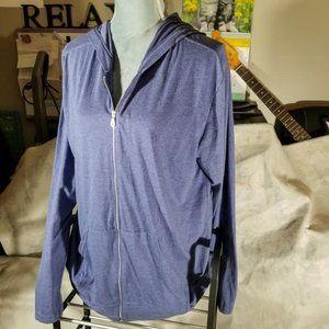 Anvil Blue Full Zip-Up Hoodie Sweatshirt